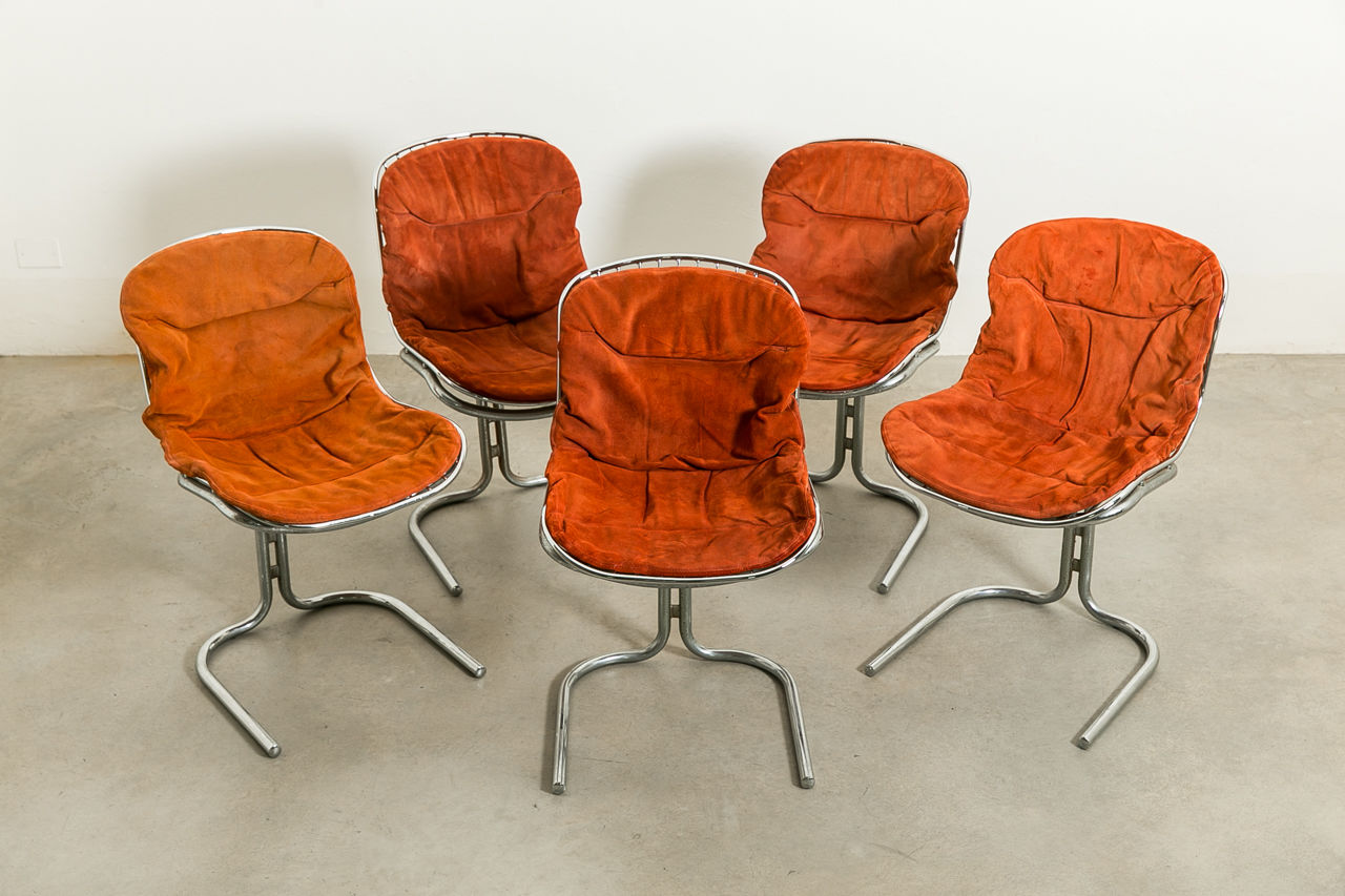 Set of six Italian wire chrome dining chairs Circa 1960 Italy