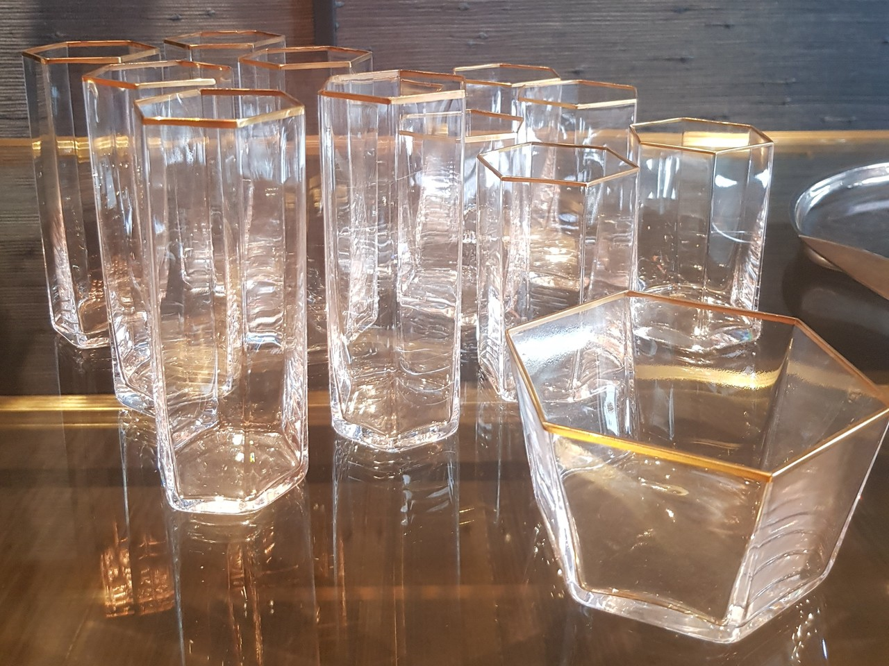 Set of twelve gold rim Vintage Italian glasses