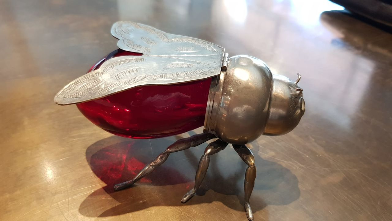 Silver Plated Ruby red glass honey pot