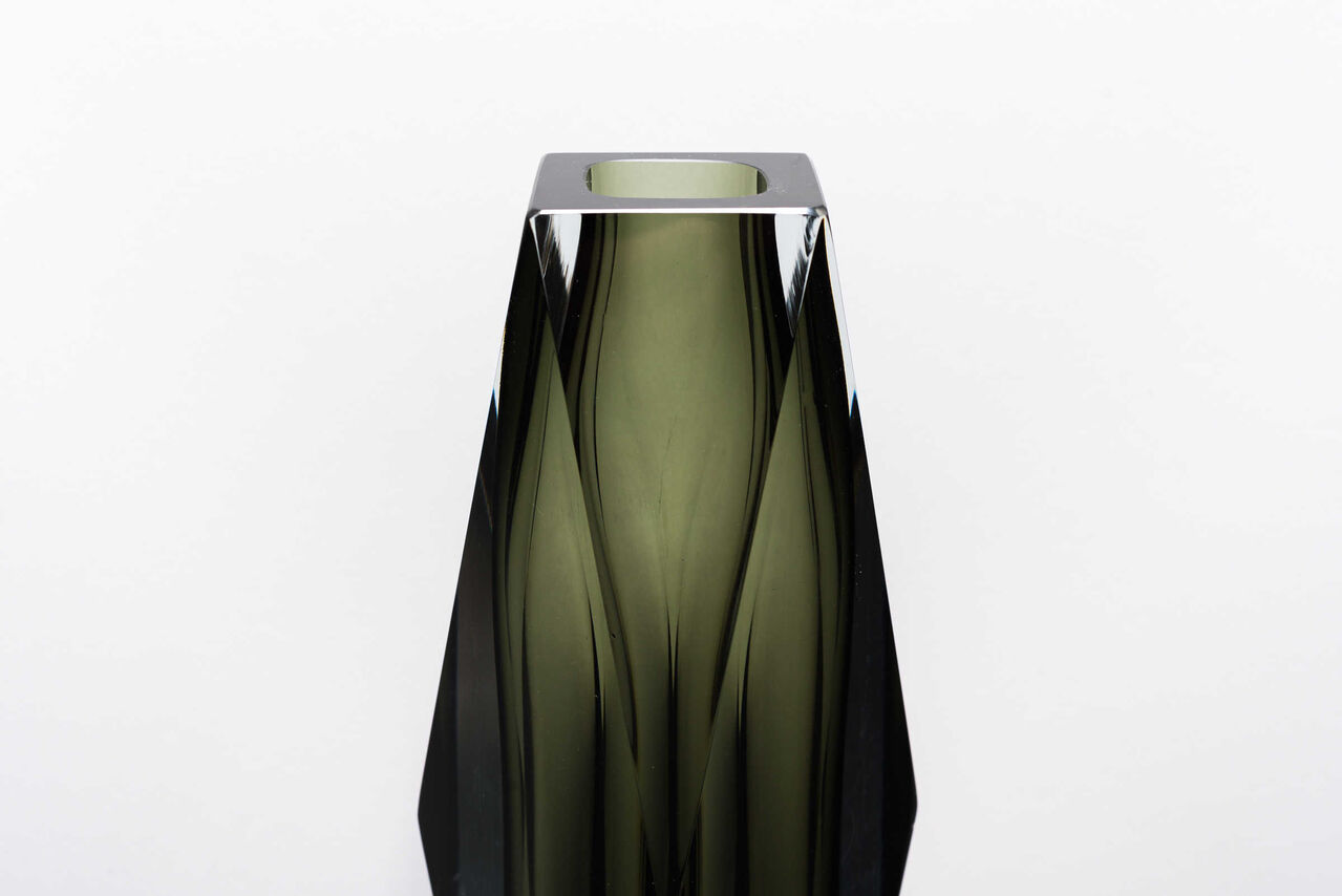 Smokey faceted Sommerso vase