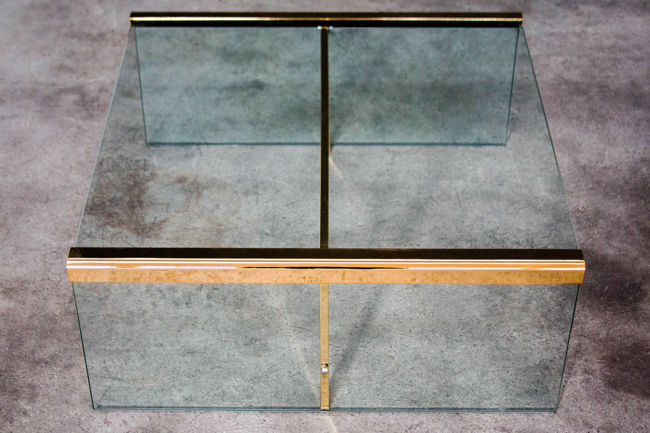 Vintage Italian Glass and Brass Coffee Table by Gallotti and Radice 1970s