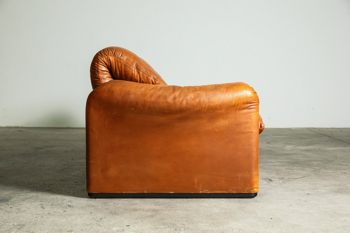 Vintage Leather 3 Seat Maralunga by Cassina