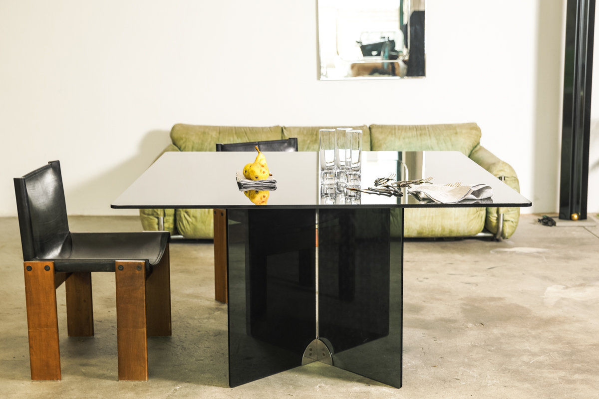 Vintage glass and brass table by Gallotti and Radice