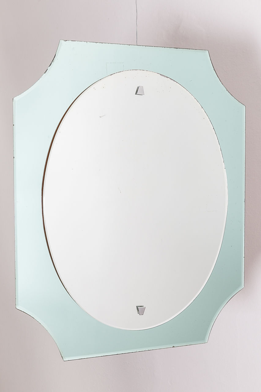 Vintage wall mirror by Cristal Lupi Luxor Circa 1970 Italy 70 x 67