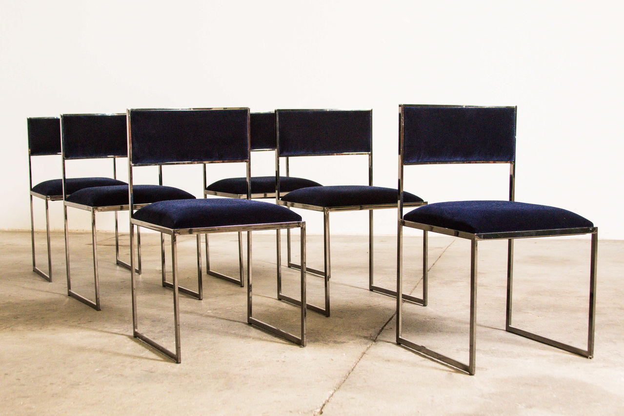 Willy Rizzo Dining Chairs set of 6 1970 Italy